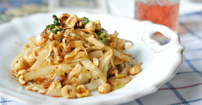 Fried cabbage with Svaneti salt and hazelnuts in browned butter